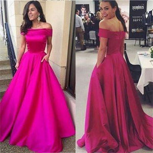 Off-the-Shoulder with Pockets Open Back Scoop A-line Simple Cheap Long Prom Dresses RS867