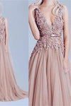 New Fashion Dusty Pink Tulle Off Shoulder Lace Long Elegant Party Prom Dress RS102