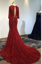 Load image into Gallery viewer, Sexy Mermaid 3/4 Sleeve V Neck Open Back Beads Burgundy Long Cheap Prom Dresses RS258
