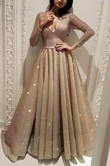 Long Sleeve A Line V Neck Gold Sequins Long Floor Length Prom Dresses RS53