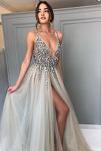 Load image into Gallery viewer, Backless Grey V Neck Sexy Prom Dresses with Slit Rhinestone See Through Evening Gowns P1105