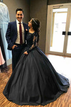 Load image into Gallery viewer, Ball Gown Long Sleeves Navy Blue With Lace Prom Dress Quinceanera Dresses RS450