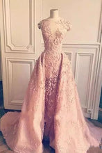 Load image into Gallery viewer, Ball Gown Mermaid Pink Lace Appliques Tulle Cap Sleeve Backless Prom Dresses RS761