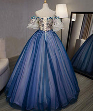 Load image into Gallery viewer, Ball Gown Off the Shoulder Short Sleeve Lace up Sweetheart Prom Dresses with Appliques RS991