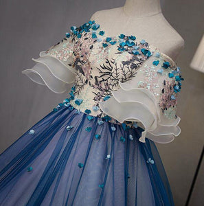 Ball Gown Off the Shoulder Short Sleeve Lace up Sweetheart Prom Dresses with Appliques RS991