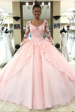 Load image into Gallery viewer, Ball Gown Pink V Neck Long Sleeve Appliques Prom Dresses with Lace up Quinceanera Dresses H1136