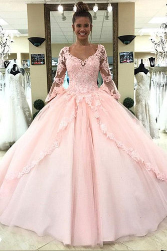 Ball Gown Pink V Neck Long Sleeve Appliques Prom Dresses with Lace up Quinceanera Dresses H1136