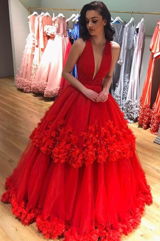 Ball Gown Red Deep V Neck Tulle Prom Dresses Long Appliques Quinceanera Dresses RS714