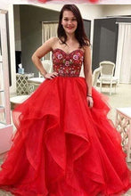 Load image into Gallery viewer, Ball Gown Sweetheart Strapless Embroidery Red Prom Dresses Long Party Dresses RS364