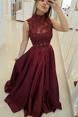 Burgundy High Neck Lace Prom Dresses Beads Satin Long Cheap Party Dresses RS573