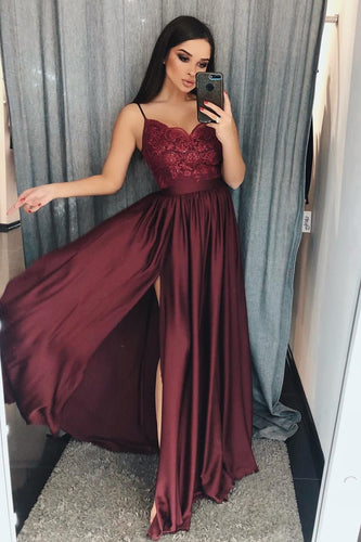 Burgundy Spaghetti Straps Sweetheart Satin Prom Dresses with Slit Beads RS591