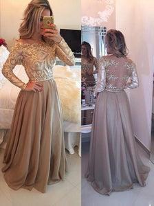 Hot Selling A-Line Cowl Floor Length Gold with Long Sleeves Prom Dresses RS710