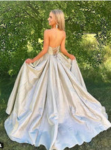 Load image into Gallery viewer, Princess A Line Strapless Sweetheart Lace up Satin Sleeveless Long Prom Dresses RS901