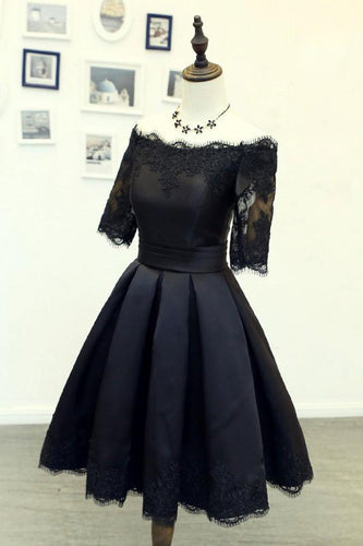 A Line Black Short Sleeves Off the Shoulder Lace Appliques Satin Homecoming Dresses RS885