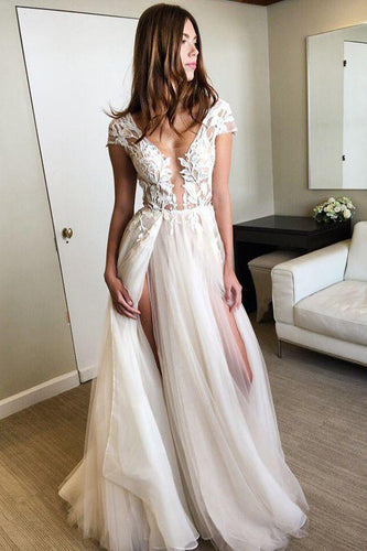 Cap Sleeve Deep V Neck Prom Dress with Appliques Backless Split Wedding Dresses RS634