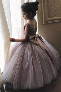 Cheap Cute Ball Gown Mauve Tulle Flower Girl Dresses with Bow on the Back Baby Dresses FG1002
