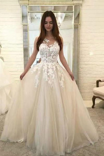 Chic Ivory Lace Appliques Straps Wedding Dresses with Tulle Cheap Prom Dresses P1025