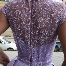 Load image into Gallery viewer, Chic Satin Short Sleeve Scoop Split Beads Purple Slit Open Back Long Prom Dresses RS61