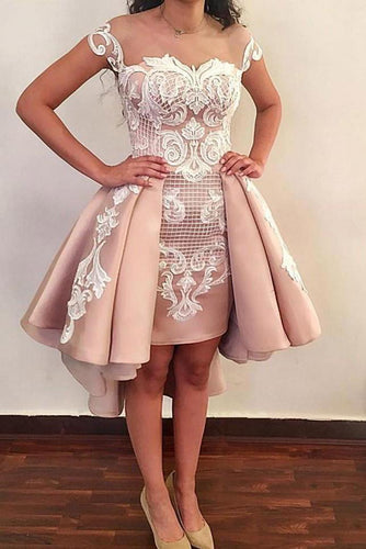 Chic Sheath Pink Above Knee Lace Appliques Cap Sleeve Homecoming Dresses H1032