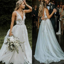 Load image into Gallery viewer, Chic V Neck Ivory Lace Appliques V Back Wedding Dresses with Appliques Lace up W1017