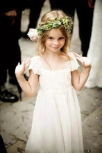 Load image into Gallery viewer, Cute Cap Sleeve Lace and Chiffon Ivory Flower Girl Dresses Wedding Party Dresses FG1001