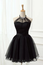 Load image into Gallery viewer, Cute Halter Black Tulle Sleeveless Beads Short Prom Dresses Homecoming Dresses P1078