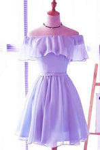 Load image into Gallery viewer, Cute Light Blue Off the Shoulder Short Prom Dresses Chiffon Homecoming Dresses H1064