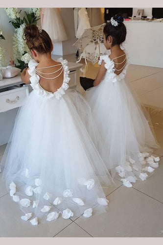 Cute Off White Tulle Backless Flower Girl Dresses with Pearl, Lace Baby Dresses PW878