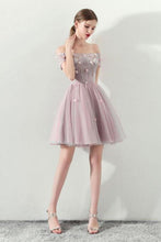 Load image into Gallery viewer, Cute Off the Shoulder Short Sleeve Tulle Above Knee Homecoming Dresses RS821