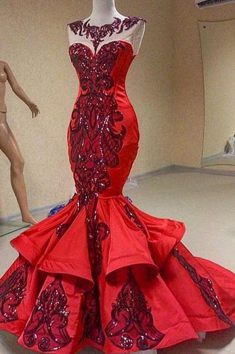 Unique Mermaid Embroidery Red Satin Sequins Scoop Long Prom Dresses RS26