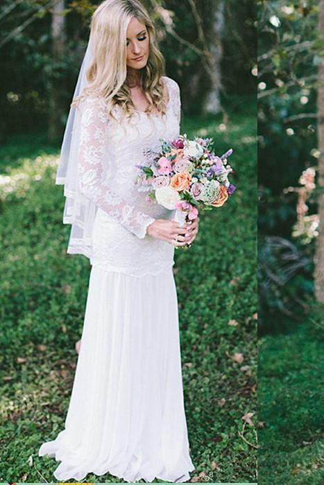 Lace Long Sleeve Beach Backless Outdoor Garden Handmade Women's Wedding Dress RS56