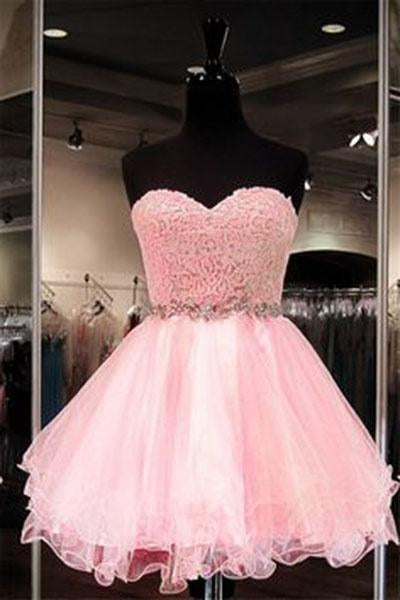 2019 Lace Short Blush Pink Strapless Sweetheart Sweet 16 Dress Homecoming Dresses H28