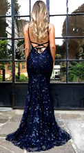 Load image into Gallery viewer, Mermaid Deep V Neck Royal Blue Lace Appliques Backless Spaghetti Straps Prom Dresses RS893