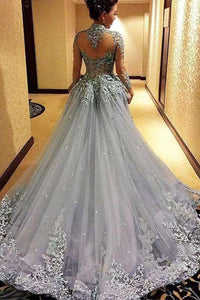 High Neck A-line Long Sleeve Tulle Appliques Sweep Train Long Prom Dresses RS416