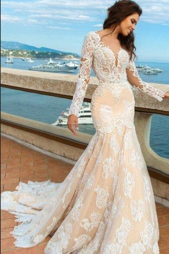 2019 White Lace Mermaid Deep V-Neck Backless Long Sleeve Wedding Dresses RS835