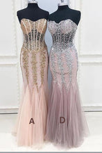 Load image into Gallery viewer, Mermaid Sexy Long Cheap Sweetheart Strapless Beads Tulle See Through Prom Dresses RS173