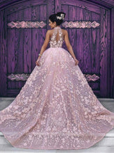 Load image into Gallery viewer, Luxury Wedding Dresses Halter Embroidery Organza High Neck Open Back Prom Dresses RS284