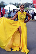 Load image into Gallery viewer, Sexy Elegant A line Yellow Chiffon Cap Sleeves Lace Evening Prom Dresses RS796
