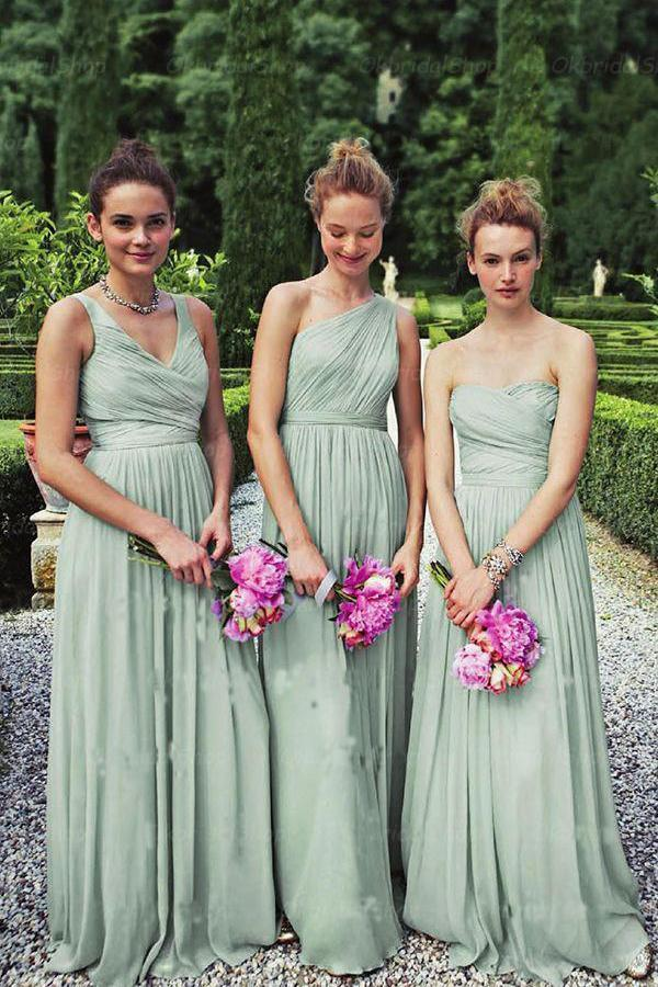 A-Line Dusty Green Long Mismatched Chiffon Prom Dress Bridesmaid Dresses RS455