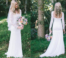 Load image into Gallery viewer, Lace Long Sleeve Beach Backless Outdoor Garden Handmade Women's Wedding Dress RS56