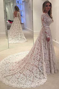 Long Sleeves Full Lace Open Back Sash Large Train Unique Style Vintage Wedding Dress P13
