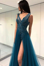 Load image into Gallery viewer, A Line Green V Neck Tulle Open Back Lace Beads Sleeveless Evening Prom Dresses RS769