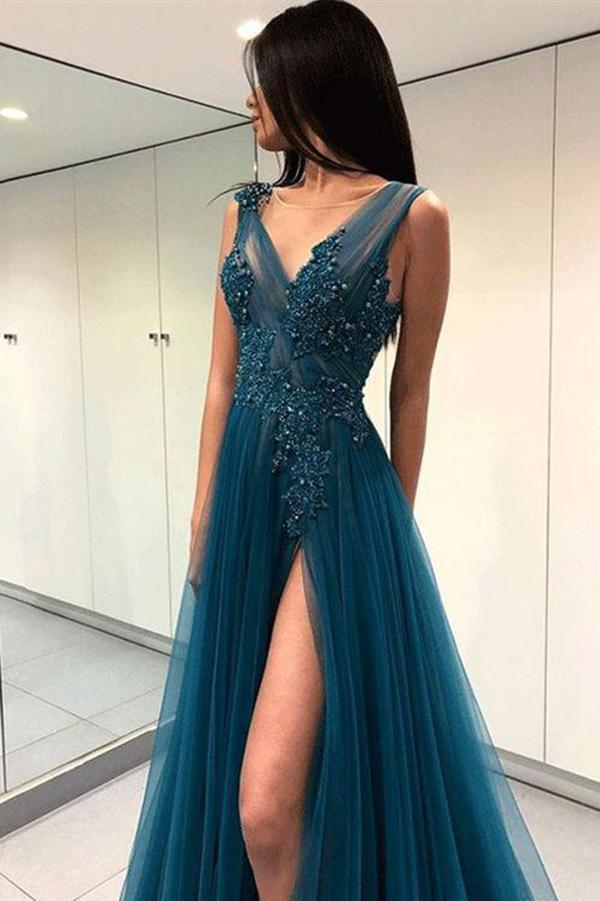 A Line Green V Neck Tulle Open Back Lace Beads Sleeveless Evening Prom Dresses RS769