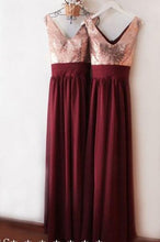 Load image into Gallery viewer, Dark Burgundy V Neck Chiffon Bridesmaid Dresses with Sequin V Back Prom Dresses RS837