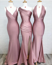 Load image into Gallery viewer, Dusty Rose Mermaid V Neck Split Side Long Evening Gowns Bridesmaid Dresses RS987
