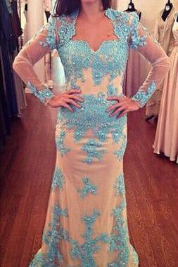 Long Sleeves Lace Sheath Long Prom Dresses Mother of Bride Dresses RS558