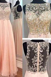 Stunning A-line Round Neck Beading Long Chiffon Prom Dresses Evening Dresses RS560