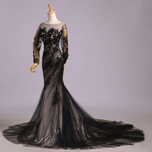 Load image into Gallery viewer, Mermaid Black Tulle Lace Appliques Long Sleeve V Back Scoop Cheap Prom Dresses RS176