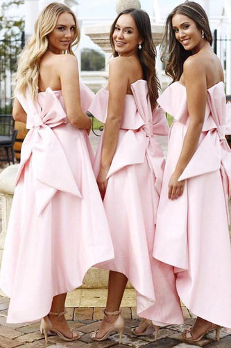 A Line Unique Strapless High Low Pink Satin Bridesmaid Dresses with Bowknot RS14