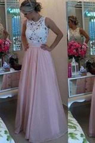 Gorgeous Lace Chiffon A-Line Formal Prom Gown With Pearls Blush Pink Long Prom Dresses RS134